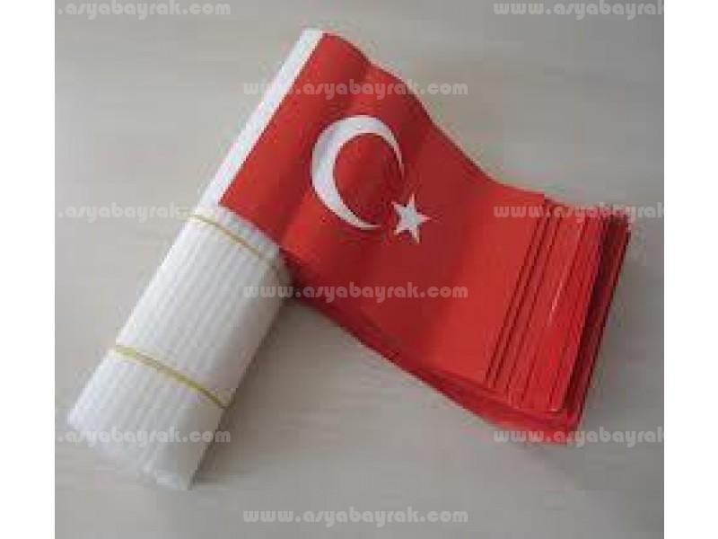 Elde Sallama Kağıt Türk Bayrakları