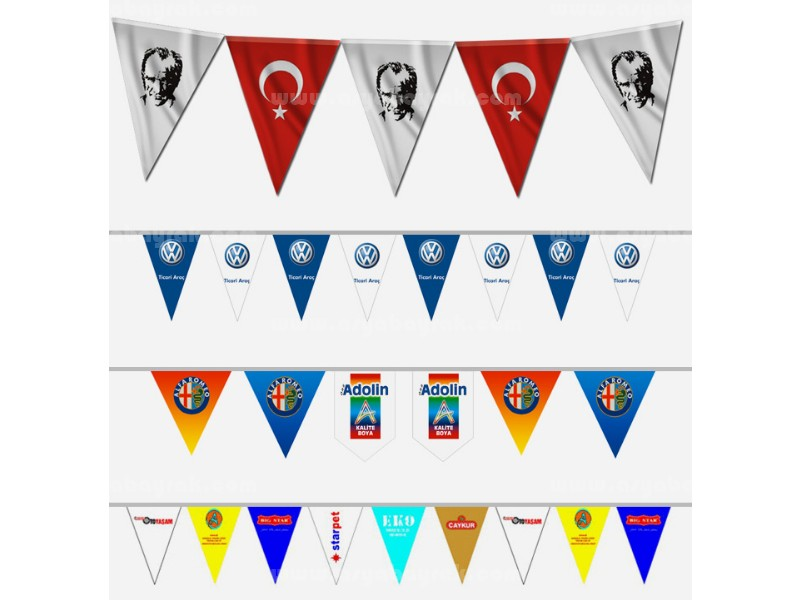 Üçgen Atatürk Bayrak Ve Özel Baskılı Dizili Süsleme Bayrak